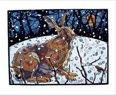 Winter Hare Linocut by Andrew Haslen