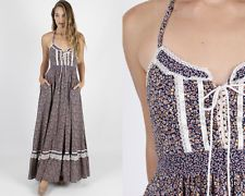 Vintage 70s Gunne Sax Dress Boho Wedding Navy Calico Floral Lace Corset Maxi M