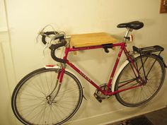 Cantilevered Edge Pacific Madrone Bike Rack with Upcycled Spoke Gear Hooks. Free Shipping.