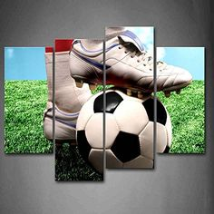First Wall Art - The Sporter is Treading The Soccer in The Ground Track Field Wall Art Painting Pictures Print On Canvas Art The Picture for Home Modern Decoration Soccer Room Decor, Soccer Bedroom, Boys Room Decor, Boy Room, Home Pictures, Wall Art Pictures, Print Pictures, Painting Pictures, Corporate Event Design