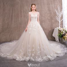 Chic / Beautiful Champagne See-through Wedding Dresses 2018 A-Line / Princess Scoop Neck Sleeveless Backless Appliques Lace Ruffle Royal Train