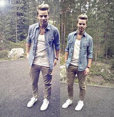 Casual look with denim shirt...  #men #style #denim