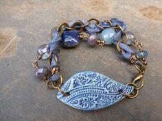 2 strand sari silk bracelet with a stunning blue textured ceramic focal bar on Etsy, $36.25