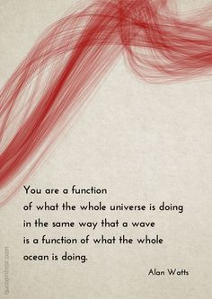 You are a function of what the whole universe is doing in the same way that a wave is a function of what the whole ocean is doing. –Alan Watts #ocean #quote #universe http://quotemirror.com/s/4z5a4