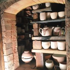 Stacked train kiln, full of pots! Ready for wood firing!