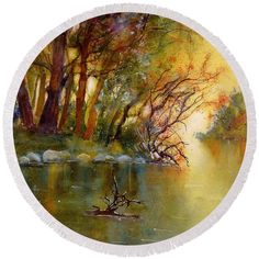 Autumn Landscape Round Beach Towel featuring the painting River Rhine in Autumn by Sabina Von Arx Autumn Forest, Warm Autumn, Fall, Beach Towel Bag, Yellow Bathroom Decor, Watercolor Paintings, Original Paintings, Autumn Lights, Autumn Scenery