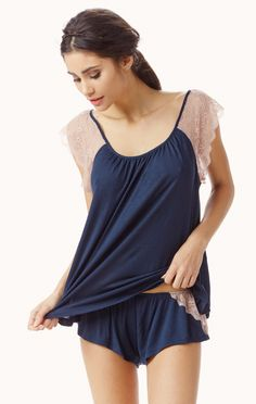 emilia lace sleeve cami by EBERJEY #planetblue