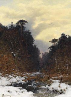 illuminate-eliminate: Brook in the Winter Forest by Heinrich Gogarten, 1887.