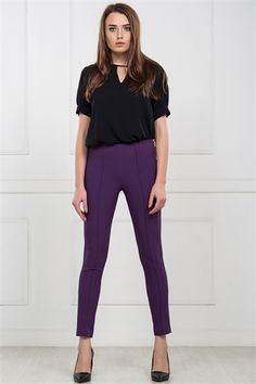 İRONİ YAN FERMUARLI DAR PAÇA MOR PANTOLON Capri Pants, Jumpsuit, Suits, Purple, Dresses, Fashion, Overalls, Vestidos, Moda