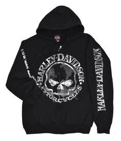 Harley-Davidson Men's Zippered Sweatshirt Jacket, Willie G Skull, Black 30296647 #HarleyDavidson #Hoodie