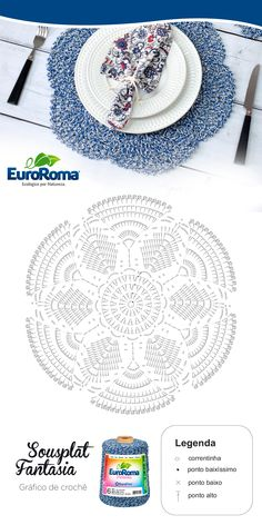 Ideas for crochet patrones ganchillo carpetas Crochet Doily Diagram, Crochet Mandala Pattern, Crochet Circles, Crochet Chart, Crochet Patterns, Crochet Dollies, Crochet Flowers, Crochet Placemats, Crochet Home