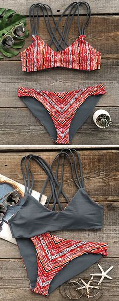 When the look is fire, the love is free. Detailed with strappy cross back, featuring reversible, this stunning printing bikini will have all eyes turned your way on the beach. Get you in with it!