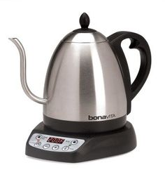 Adjustable Temp. Bonavita Electric Kettle for pourovers.  Looks like it solves the steam burns on my fingertips from using a meat thermometer problem