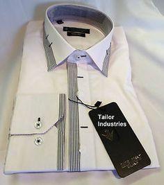 New Mens Formal, Smart Italian Design White and Black Slim Fit Shirt Stripes
