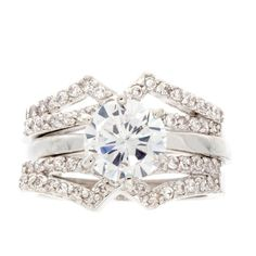 Nexte Jewelry Silvertone Cubic Zirconia Two-piece Ring ($19) ❤ liked on Polyvore featuring jewelry, rings, white, wide band rings, white ring, solitaire engagement rings, zirconia engagement rings and band engagement rings
