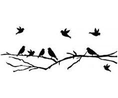 Muursticker Tak met vogels, 22 kleuren