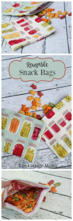 Reusable Snack Bag Tutorial by Lindsay Wilkes from The Cottage Mama. Free Sewing Pattern.