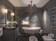 Luxury grey bathroom , Devon&Devon , Chelini Lighting