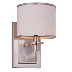 "Soft Contemporary Sconce   Urban styling with a soft contemporary white fabric drum shade trimmed in metal banding for a modern update with bungalow roots. satin Nickel - $49  White shade. 60 watts (candle bulb not included).  (9.75""Hx6""Wx7.5""D)  Backplate 6.5""x4.75"""