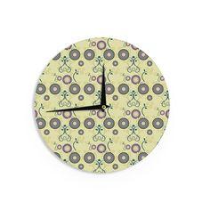 """Mydeas """"Spring Florals"""" Yellow Multicolor Wall Clock"""