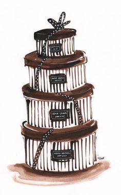 Henri Bendel Hat Boxes by Izak Zenou Henri Bendel, Beatrix Potter, Decoupage, Etiquette Vintage, Hat Boxes, Fashion Sketches, Fashion Illustrations, Fashion Drawings, Outfits With Hats