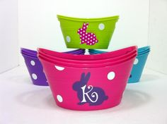 Easter baskets using Dollar Tree containers