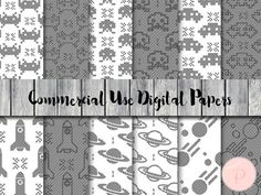 Space Digital Paper Black and White Game Instant by MagicalStudio