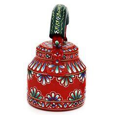 Amazon.com | Indian Hand Painted Aluminium Orange Hand Painted Traditional Tea Kettle Pot: Tea Sets
