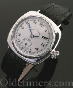 An early silver cushion vintage Rolex Oyster watch, 1928