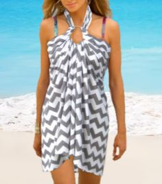 Grey Chevron Swimsuit Cover Up Beach Dress by CoverUpBoutique, $39.90
