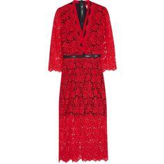 Preen by Thornton Bregazzi Sloane zipped lace midi dress (42.305 RUB) ❤ liked on Polyvore featuring dresses, crimson, lacy red dress, lace midi dress, red lace dress, crimson red dress and red dress