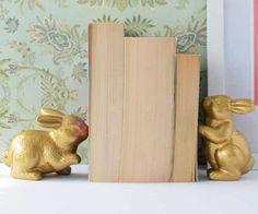 DIY Gold Bunny Bookends