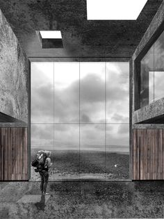 perspective collage render _ South Gare Visitor Centre by Alex McCann, via Behance