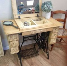 New Pic sewing table repurpose Style Trendy Sewing Machine Table Decor Vanities Old Sewing Machine Table, Sewing Machine Drawers, Vintage Sewing Machines, Old Sewing Tables, Sewing Cabinet, Sewing Machine Cabinets, Vintage Sewing Table, Sewing Desk, Sewing Spaces