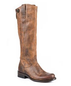 Stetson Brown Burnished Leather Cowboy Boot - Women - Women by Stetson #zulily #zulilyfinds