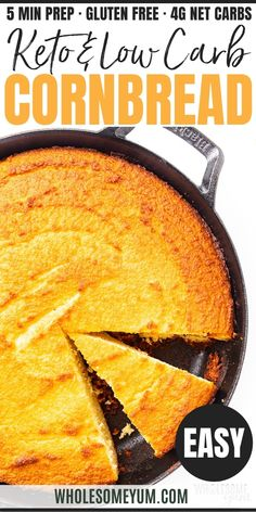 Low Carb Keto Cornbread Recipe - Easy keto cornbread is the side your chili and soups need! My low carb almond flour cornbread recipe is made with a secret ingredient that makes it taste like the real thing. #wholesomeyum Low Carb Keto, Low Carb Recipes, Bread Recipes, Real Food Recipes, Cooking Recipes, Healthy Recipes, Low Carb Cornbread Recipe, Lowest Carb Bread Recipe, Best Vegetarian Sandwiches