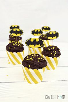 Batman's Brownie Cupcakes! Ideal for a Batman themed party! from Craftwithmom
