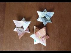 Ster vouwen van een geldbiljet. - YouTube Christmas Crafts For Adults, Diy And Crafts, Paper Crafts, Origami Folding, Present Wrapping, Godchild, Hand Lettering, Wraps, Presents