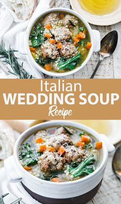 Homemade Italian Wedding Soup Recipe - This super tasty wedding soup recipe is loaded with homemade meatballs, veggies, escarole and pasta that's simmered in a delicious chicken stock. Best Soup Recipes, Chili Recipes, Dinner Recipes, Healthy Recipes, Lunch Recipes, Weekly Recipes, Top Recipes, Appetizer Recipes, Easy Recipes