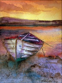 Lonely boat Art Print of my original watercolor by Esperoart