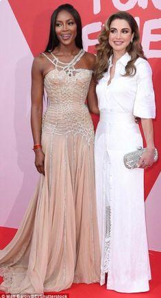 Queen Rania of Jordan with Naomi Campbell.