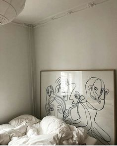 The work needed to be attached to a foamcore board in order to be framed properly. It gives it the feel of a print, but it's not, it's the… Home Living, Living Spaces, Living Rooms, Interior Inspiration, Design Inspiration, Bedroom Inspiration, Bedroom Inspo, Cosy Bed, Minimal Home