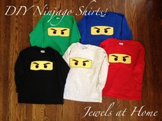 Tutorial for easy-to-make Ninjago T-shirts for party favors or everyday! {Jewels at Home}