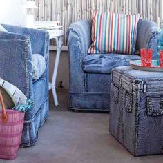 More makeovers with jean fabrics on furniture. I love the hassock.