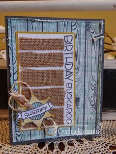 Stampin Up, #stampinup, Yee-haw photopolymer, design team call at Friday Mashup, Birthday handmade cards, burlap, ink a doodle creations, hardwood