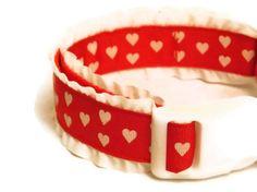Dog Collar  Ruffle Heart Collar  by FuzzyPawCreations, $13.26
