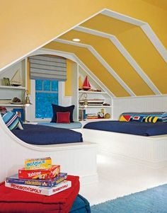 interesting attic bedroom.. love the beds built into the walls.. would put drawers under.. shelves in wall.. brilliant ;)