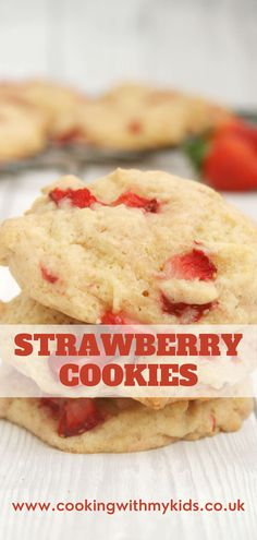 Strawberry cookies are a delicious, light and fruity bake. Made with fresh strawberries they sing of real strawberry flavour and are the perfect bake for the summer. #strawberry cookies #cookies #easy recipe #from scratch #recipes #homemade #how to make #recipes from scratch #real strawberries #