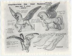 Male Pegasus, Fantasia character sheets – Walt Disney Studios — Fantasy character design