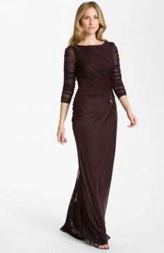 Sheer Sleeve Ruched Mesh Gown